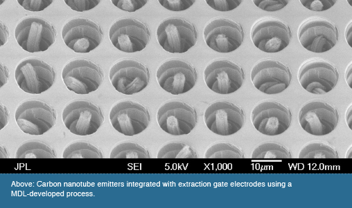 Above: Carbon nanotube emitters integrated with extraction gate electrodes