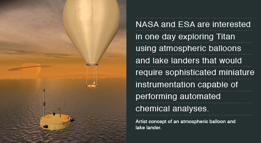 NASA and ESA are interested in one day exploring Titan using atmospheric balloons and lake landers that would require sophisticated miniature instrumentation capable of performing automated chemical analyses. Artist concept of an atmospheric balloon and lake lander.