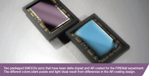 Two packaged EMCCDs (e2v) that have been delta doped and AR coated for the FIREBall experiment. The different colors (dark purple and light blue) result from differences in the AR coating design.