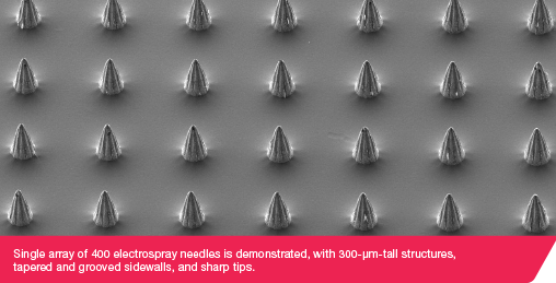 Single array of 400 electrospray needles is demonstrated, with 300-µm-tall structures, tapered and grooved sidewalls, and sharp tips.