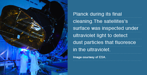 Planck during its final cleaning. The satellites's surface was inspected under ultraviolet light